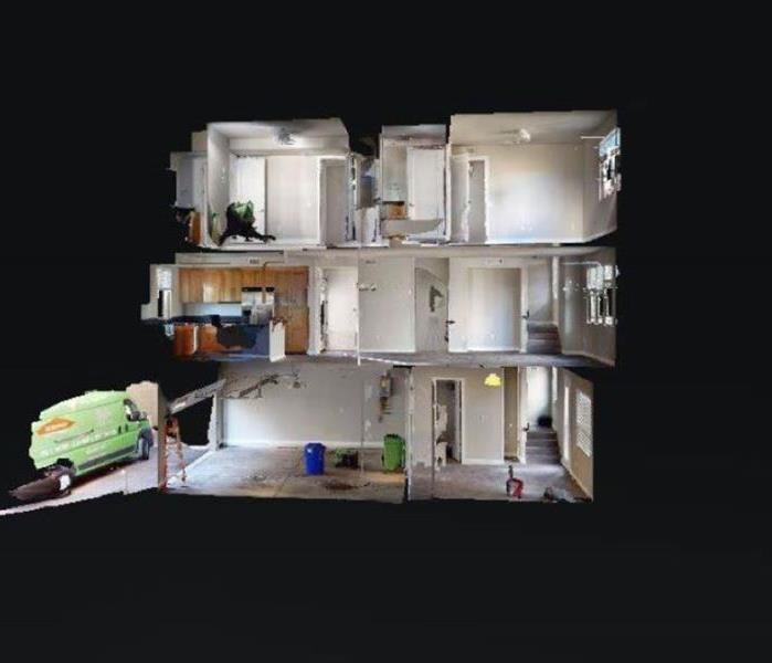 A 3-D image of the inside of a home using SERVPRO of Greater Waco's newest software