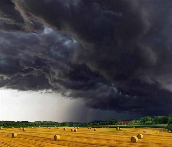 A dark stormy sky looms over a field of grass in a rural scene